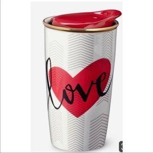 Starbucks Heart//Love Mug w/ Lid & gold trim
